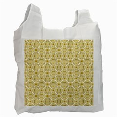 Gold Geometric Plaid Circle Recycle Bag (two Side)  by Alisyart
