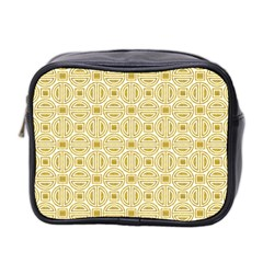 Gold Geometric Plaid Circle Mini Toiletries Bag 2 Side by Alisyart