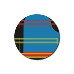 Sketches Tone Red Yellow Blue Black Musical Scale Rubber Coaster (round)  by Alisyart
