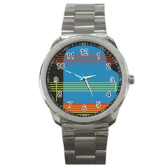 Sketches Tone Red Yellow Blue Black Musical Scale Sport Metal Watch by Alisyart