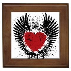 Wings Of Heart Illustration Framed Tiles by TastefulDesigns