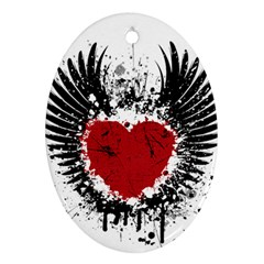 Wings Of Heart Illustration Oval Ornament (two Sides)