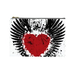 Wings Of Heart Illustration Cosmetic Bag (large)  by TastefulDesigns