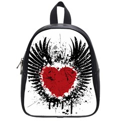 Wings Of Heart Illustration School Bags (small)  by TastefulDesigns