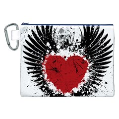 Wings Of Heart Illustration Canvas Cosmetic Bag (xxl) by TastefulDesigns