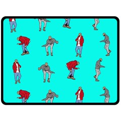 Hotline Bling Blue Background Fleece Blanket (large)  by Onesevenart