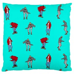 Hotline Bling Blue Background Large Flano Cushion Case (two Sides) by Onesevenart
