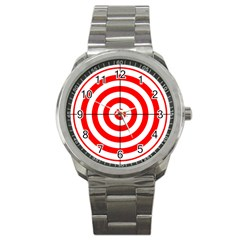 Sniper Focus Target Round Red Sport Metal Watch by Alisyart