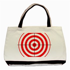 Sniper Focus Target Round Red Basic Tote Bag (two Sides) by Alisyart