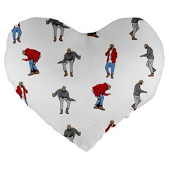 Hotline Bling Large 19  Premium Flano Heart Shape Cushions by Onesevenart