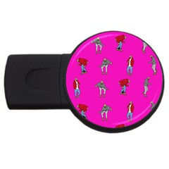 Hotline Bling Pink Background Usb Flash Drive Round (4 Gb) by Onesevenart