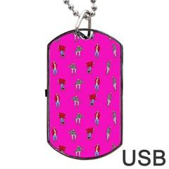 Hotline Bling Pink Background Dog Tag Usb Flash (two Sides) by Onesevenart