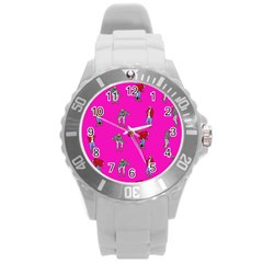 Hotline Bling Pink Background Round Plastic Sport Watch (l) by Onesevenart