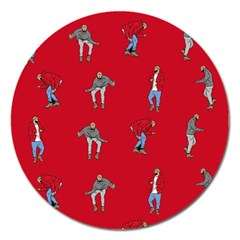 Hotline Bling Red Background Magnet 5  (round) by Onesevenart