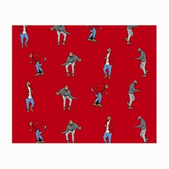 Hotline Bling Red Background Small Glasses Cloth (2 Side) by Onesevenart