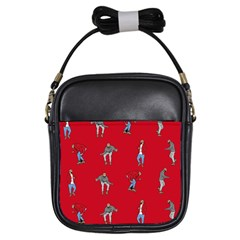 Hotline Bling Red Background Girls Sling Bags by Onesevenart