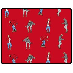 Hotline Bling Red Background Double Sided Fleece Blanket (medium)  by Onesevenart