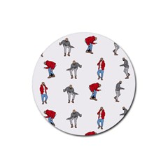 Hotline Bling White Background Rubber Round Coaster (4 Pack)  by Onesevenart