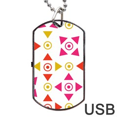 Spectrum Styles Pink Nyellow Orange Gold Dog Tag Usb Flash (one Side) by Alisyart