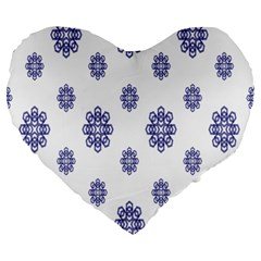 Snow Blue White Cool Large 19  Premium Heart Shape Cushions by Alisyart