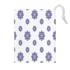 Snow Blue White Cool Drawstring Pouches (extra Large) by Alisyart