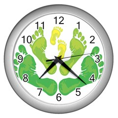 Soles Feet Green Yellow Family Wall Clocks (silver)  by Alisyart