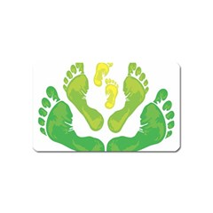 Soles Feet Green Yellow Family Magnet (Name Card) by Alisyart