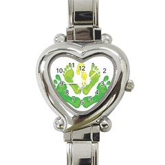 Soles Feet Green Yellow Family Heart Italian Charm Watch by Alisyart