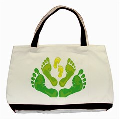 Soles Feet Green Yellow Family Basic Tote Bag (two Sides) by Alisyart