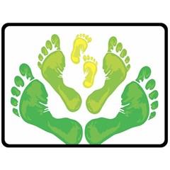 Soles Feet Green Yellow Family Fleece Blanket (large)  by Alisyart