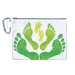 Soles Feet Green Yellow Family Canvas Cosmetic Bag (l) by Alisyart