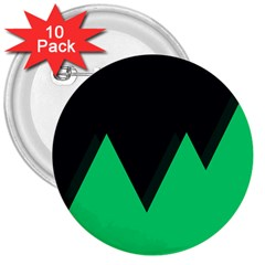 Soaring Mountains Nexus Black Green 3  Buttons (10 Pack)  by Alisyart
