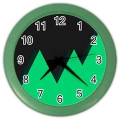 Soaring Mountains Nexus Black Green Color Wall Clocks by Alisyart