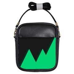 Soaring Mountains Nexus Black Green Girls Sling Bags by Alisyart