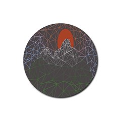 Sun Line Lighs Nets Green Orange Geometric Mountains Rubber Coaster (round)  by Alisyart