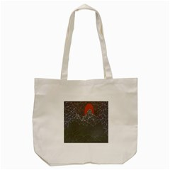 Sun Line Lighs Nets Green Orange Geometric Mountains Tote Bag (cream) by Alisyart