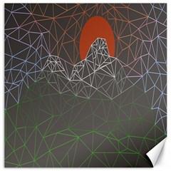 Sun Line Lighs Nets Green Orange Geometric Mountains Canvas 20  X 20   by Alisyart