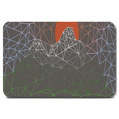 Sun Line Lighs Nets Green Orange Geometric Mountains Large Doormat  by Alisyart