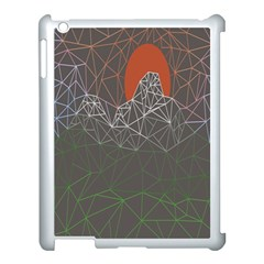 Sun Line Lighs Nets Green Orange Geometric Mountains Apple Ipad 3/4 Case (white) by Alisyart
