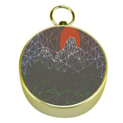 Sun Line Lighs Nets Green Orange Geometric Mountains Gold Compasses by Alisyart