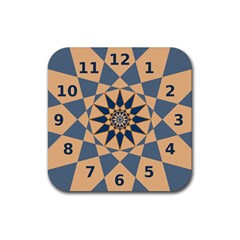 Stellated Regular Dodecagons Center Clock Face Number Star Rubber Coaster (square)  by Alisyart
