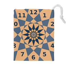 Stellated Regular Dodecagons Center Clock Face Number Star Drawstring Pouches (extra Large) by Alisyart