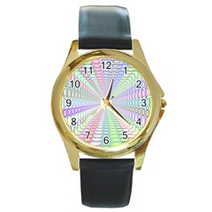 Tunnel With Bright Colors Rainbow Plaid Love Heart Triangle Round Gold Metal Watch by Alisyart
