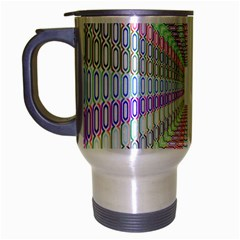 Tunnel With Bright Colors Rainbow Plaid Love Heart Triangle Travel Mug (silver Gray) by Alisyart