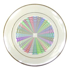 Tunnel With Bright Colors Rainbow Plaid Love Heart Triangle Porcelain Plates by Alisyart