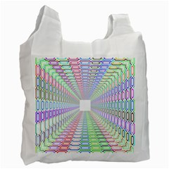 Tunnel With Bright Colors Rainbow Plaid Love Heart Triangle Recycle Bag (one Side) by Alisyart