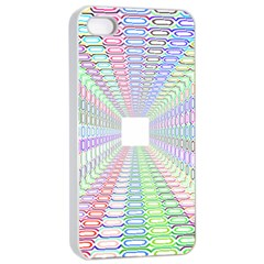 Tunnel With Bright Colors Rainbow Plaid Love Heart Triangle Apple Iphone 4/4s Seamless Case (white) by Alisyart