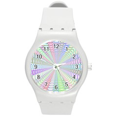 Tunnel With Bright Colors Rainbow Plaid Love Heart Triangle Round Plastic Sport Watch (m) by Alisyart