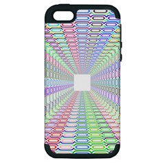 Tunnel With Bright Colors Rainbow Plaid Love Heart Triangle Apple Iphone 5 Hardshell Case (pc+silicone) by Alisyart