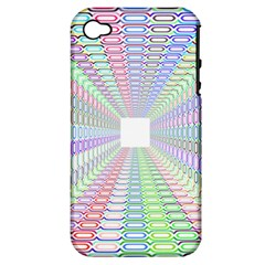 Tunnel With Bright Colors Rainbow Plaid Love Heart Triangle Apple Iphone 4/4s Hardshell Case (pc+silicone) by Alisyart